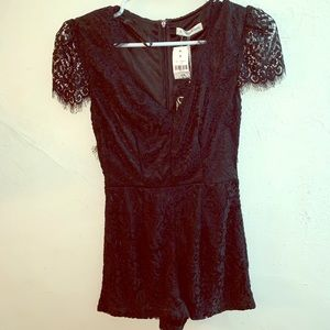 LF stores Mika and gala black lace romper NWT